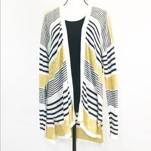 Old Navy Striped Long Open Front Cardigan Size L